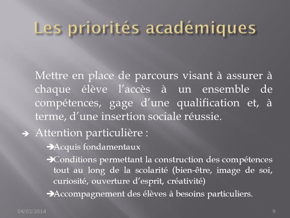 Mettre en place de parcours visant à assurer à chaque élève laccès à un ensemble de compétences, gage dune qualification et, à terme, dune insertion s