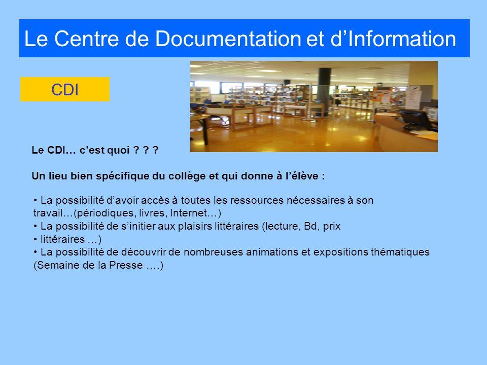Le Centre de Documentation et dInformation Le CDI… cest quoi ? ? ? Un lieu bien spécifique du collège et qui donne à lélève : CDI La possibilité davoi