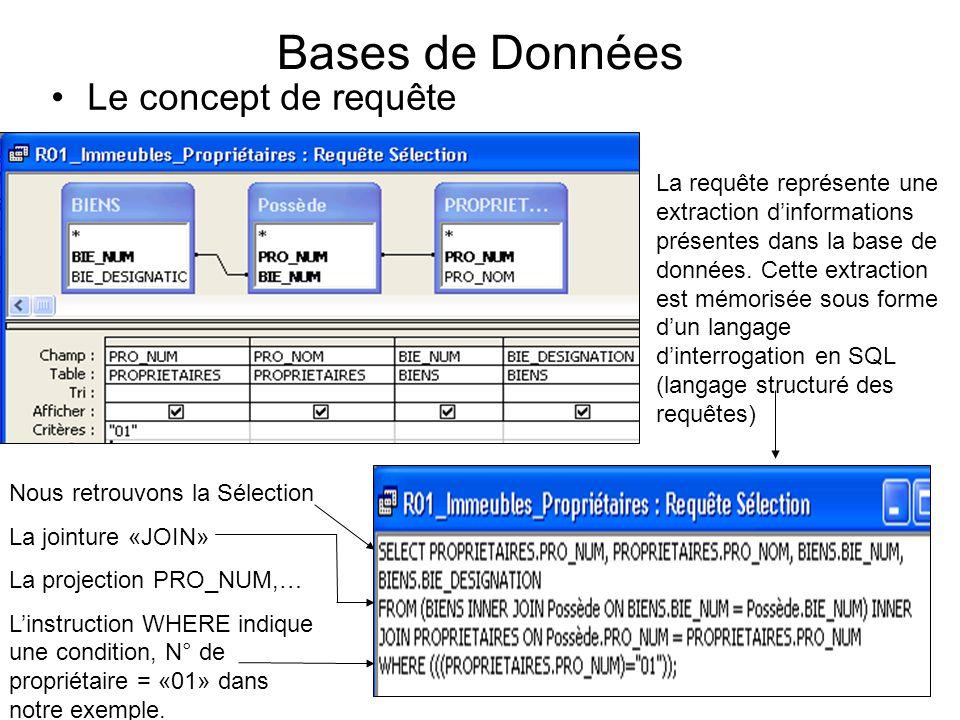18 Bases de Données Le concept de requête La requête représente une extraction dinformations présentes dans la base de données. Cette extraction est m
