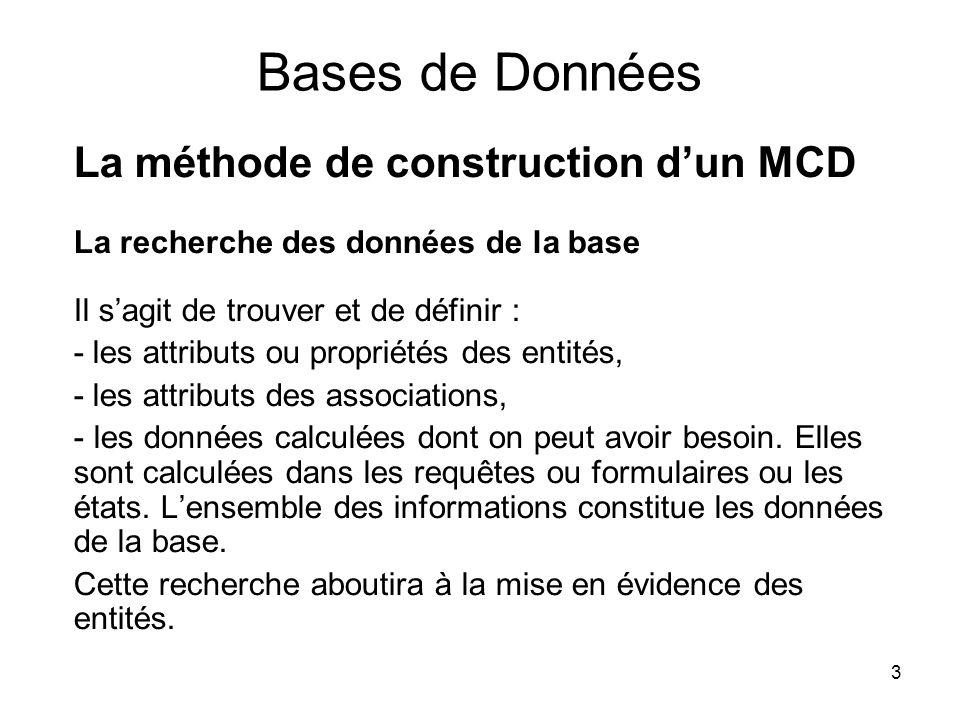 3 Bases de Données La méthode de construction dun MCD La recherche des données de la base Il sagit de trouver et de définir : - les attributs ou propr