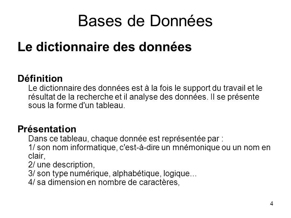 4 Bases de Données Le dictionnaire des données Définition Le dictionnaire des données est à la fois le support du travail et le résultat de la recherc
