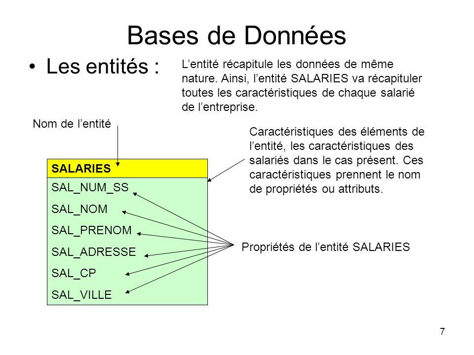 7 Bases de Données Les entités : SALARIES SAL_NUM_SS SAL_NOM SAL_PRENOM SAL_ADRESSE SAL_CP SAL_VILLE Lentité récapitule les données de même nature. Ai
