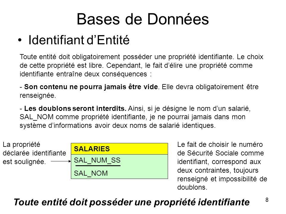 9 Bases de Données Représentation tabulaire des informations SAL_NUM_SSSAL_NOMSAL_PRENOM 1491124322035DelageRobert 1520107834456Ait-ouadiFarid 2541086054678AubertEvelyne Dans le cas ci-dessus, lentité SALARIES est représentée sous forme tabulaire.