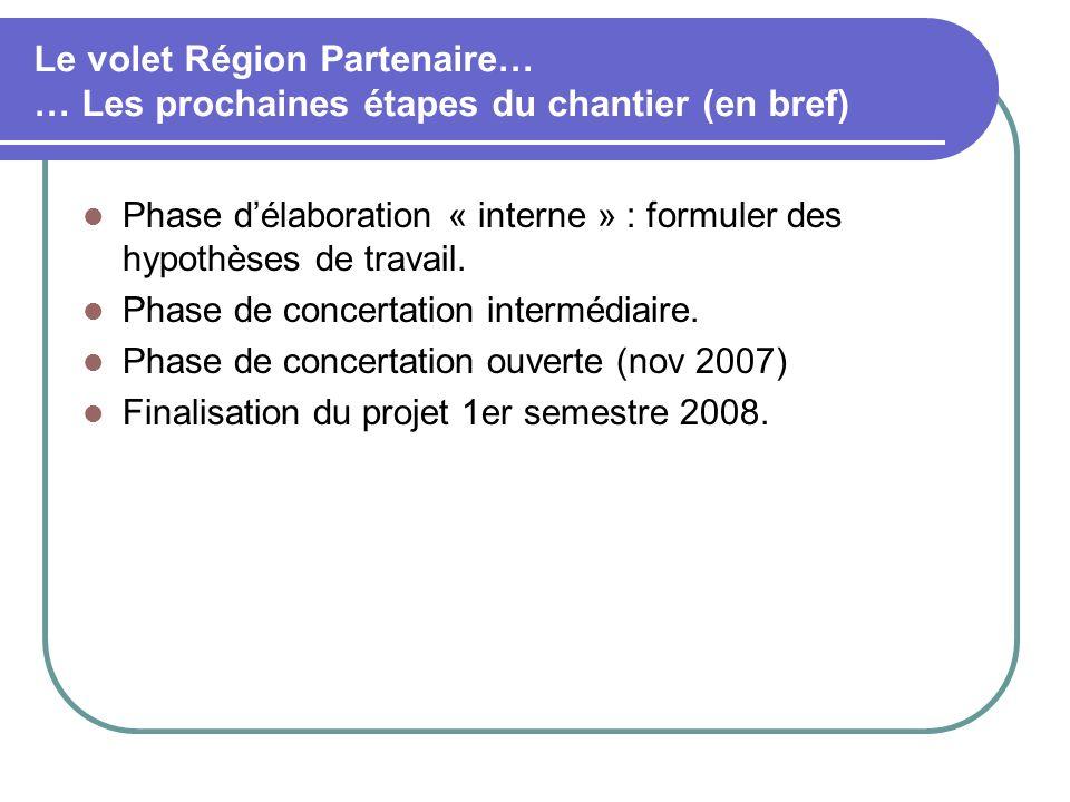 Le volet Région Partenaire… … Les prochaines étapes du chantier (en bref) Phase délaboration « interne » : formuler des hypothèses de travail.