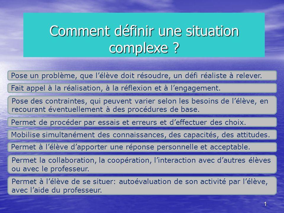 1 Pose un problème, que lélève doit résoudre, un défi réaliste à relever. Fait appel à la réalisation, à la réflexion et à lengagement. Pose des contr