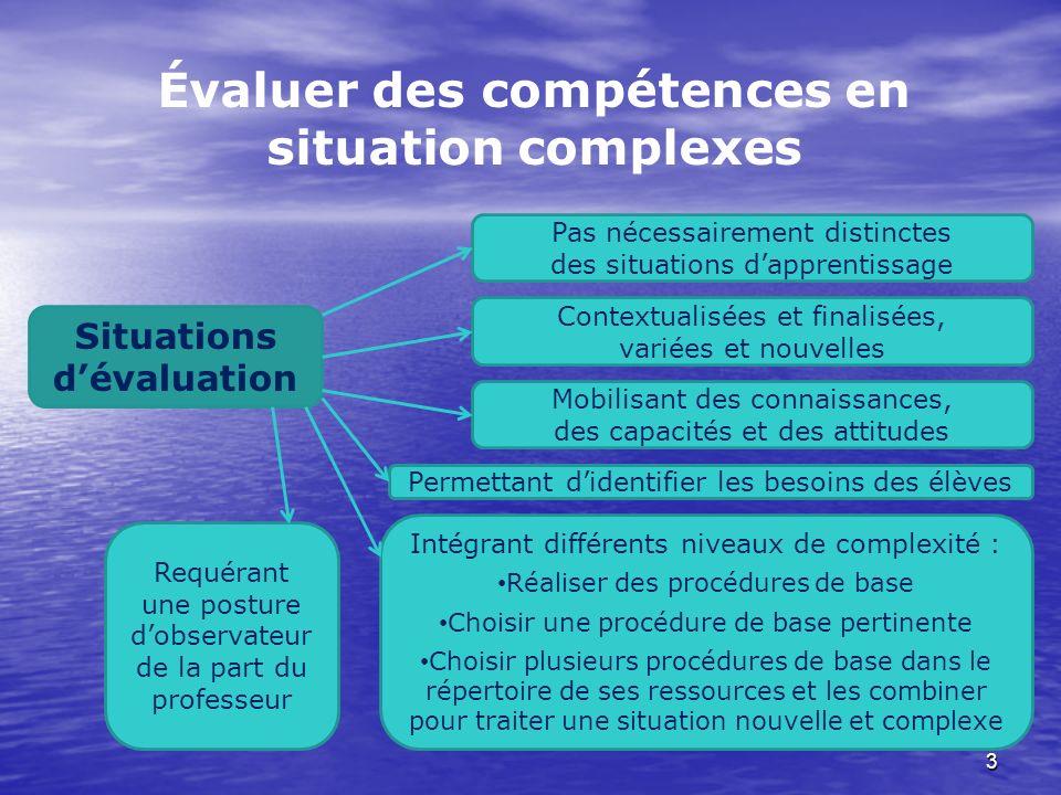 3 Évaluer des compétences en situation complexes Situations dévaluation Contextualisées et finalisées, variées et nouvelles Intégrant différents nivea