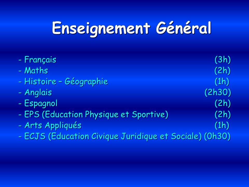 Enseignement Général - Français (3h) - Maths (2h) - Histoire – Géographie (1h) - Anglais (2h30) - Espagnol (2h) - EPS (Education Physique et Sportive)