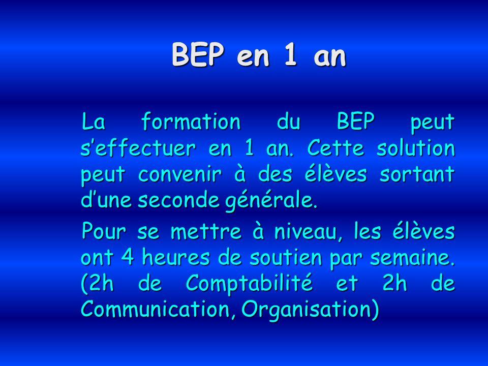 BEP en 1 an La formation du BEP peut seffectuer en 1 an. Cette solution peut convenir à des élèves sortant dune seconde générale. La formation du BEP