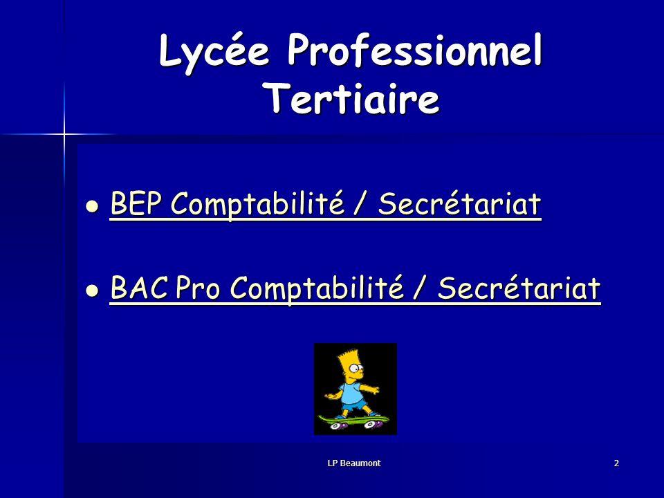 Vous venez de Collège 3ème Lycée Seconde Le Lycée Professionnel Beaumont à Redon peut vous proposer une formation en BEP 2 ans Comptabilité / Secrétariat BEP 1an Comptabilité / Secrétariat