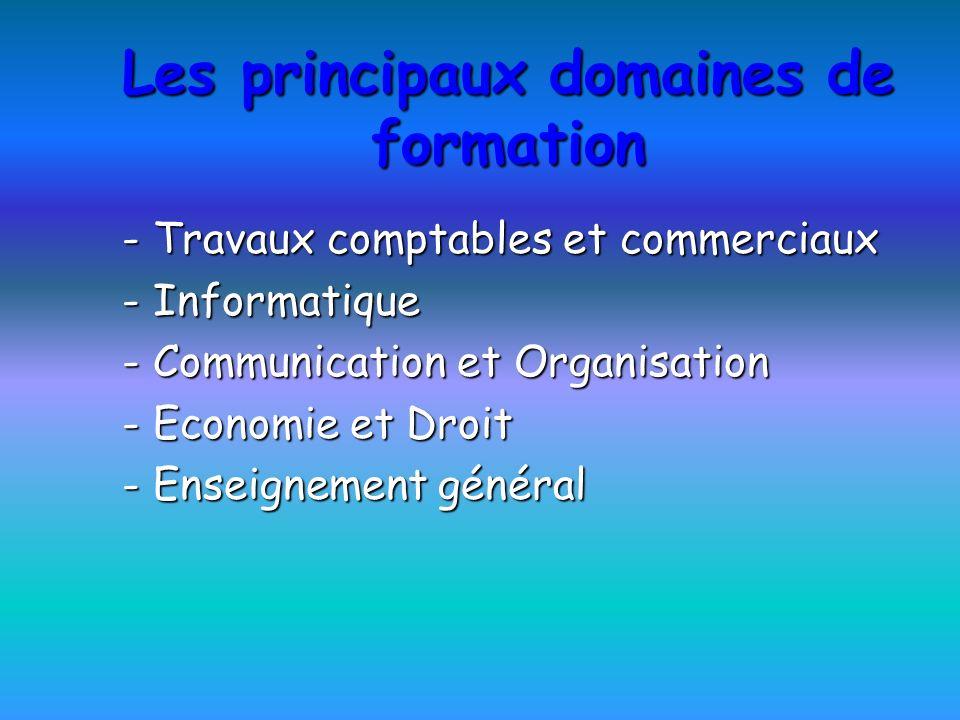 Les principaux domaines de formation - Travaux comptables et commerciaux - Informatique - Communication et Organisation - Economie et Droit - Enseigne