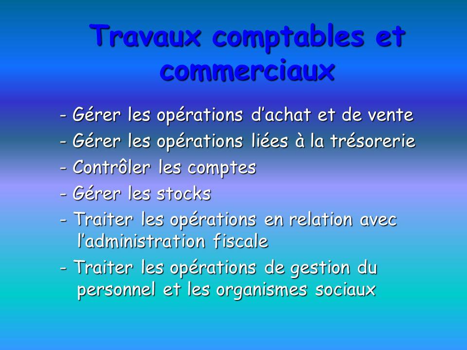 Travaux comptables et commerciaux - Gérer les opérations dachat et de vente - Gérer les opérations liées à la trésorerie - Contrôler les comptes - Gér