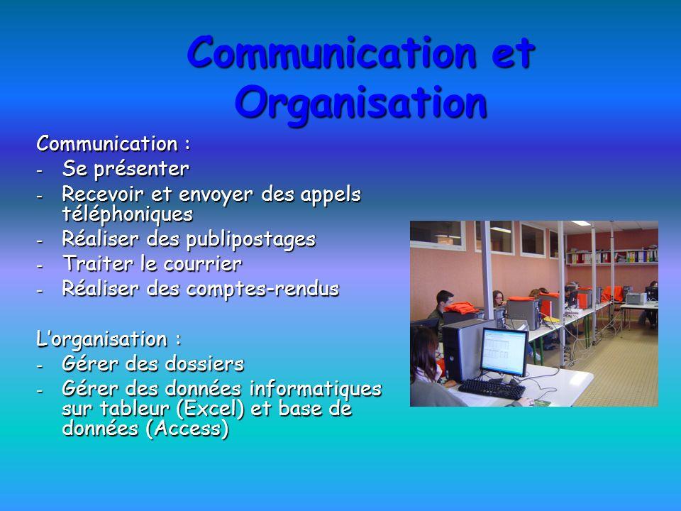 Communication et Organisation Communication : - Se présenter - Recevoir et envoyer des appels téléphoniques - Réaliser des publipostages - Traiter le