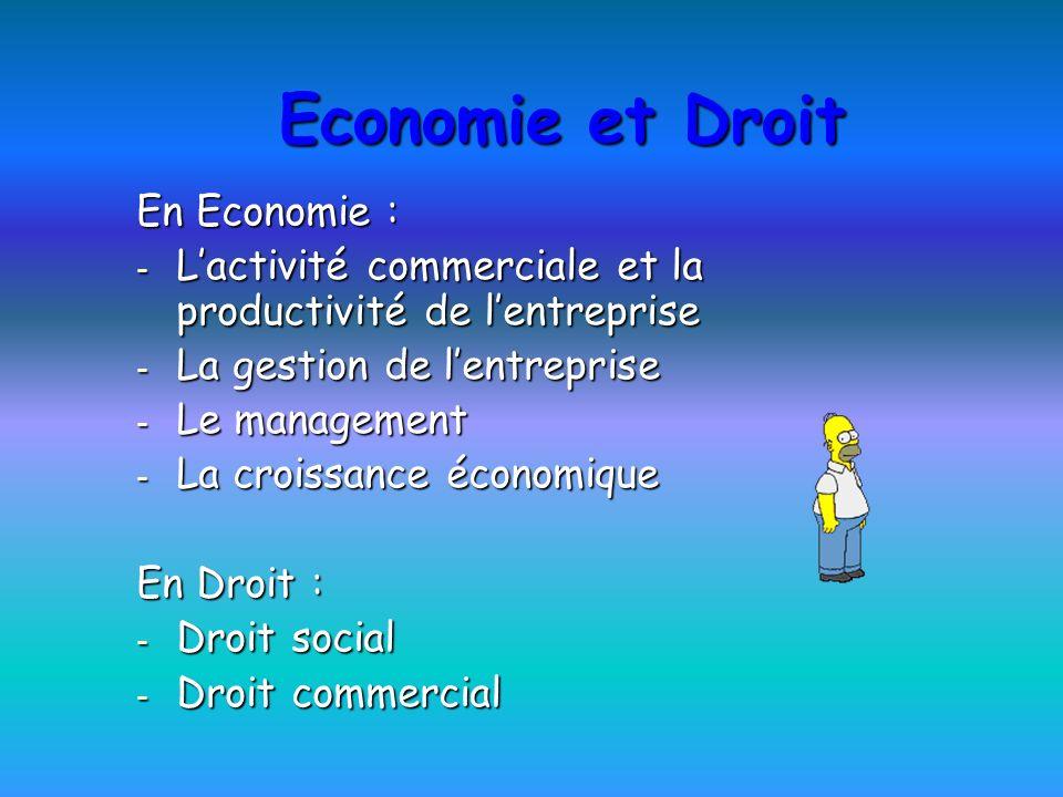 Economie et Droit En Economie : - Lactivité commerciale et la productivité de lentreprise - La gestion de lentreprise - Le management - La croissance