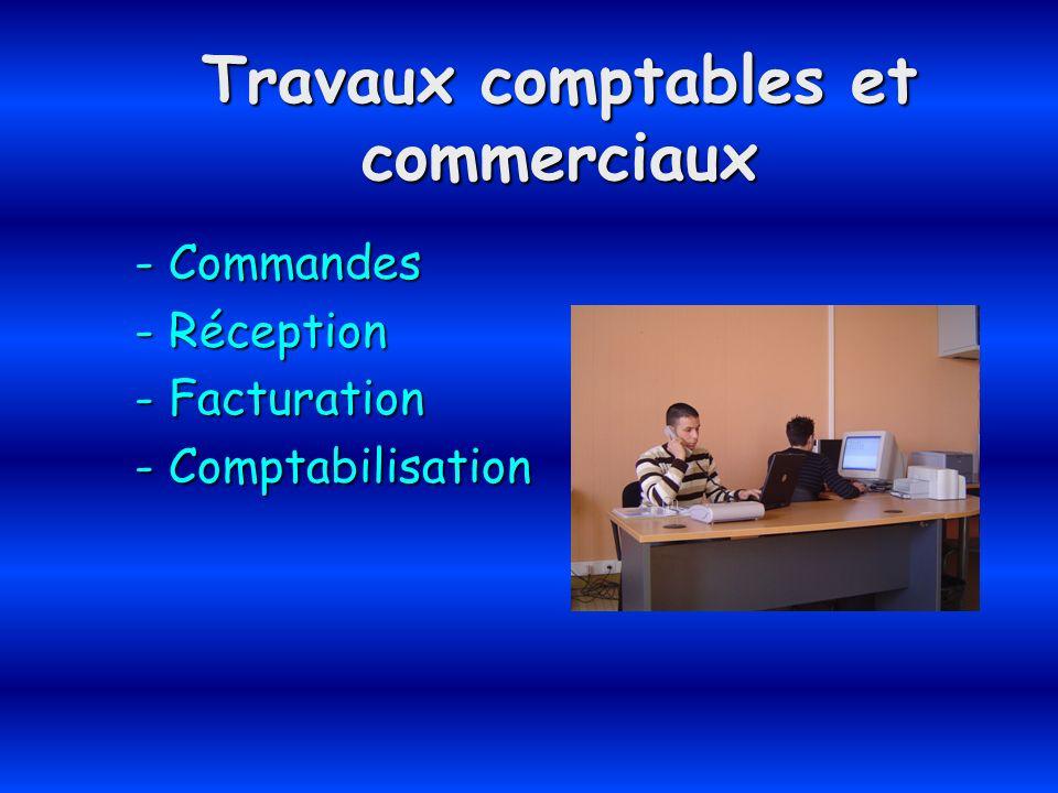 Travaux comptables et commerciaux - Commandes - Réception - Facturation - Comptabilisation