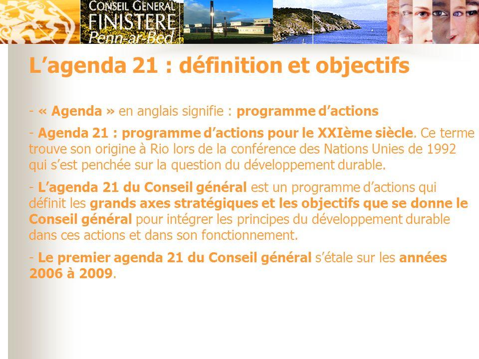 - « Agenda » en anglais signifie : programme dactions - Agenda 21 : programme dactions pour le XXIème siècle. Ce terme trouve son origine à Rio lors d