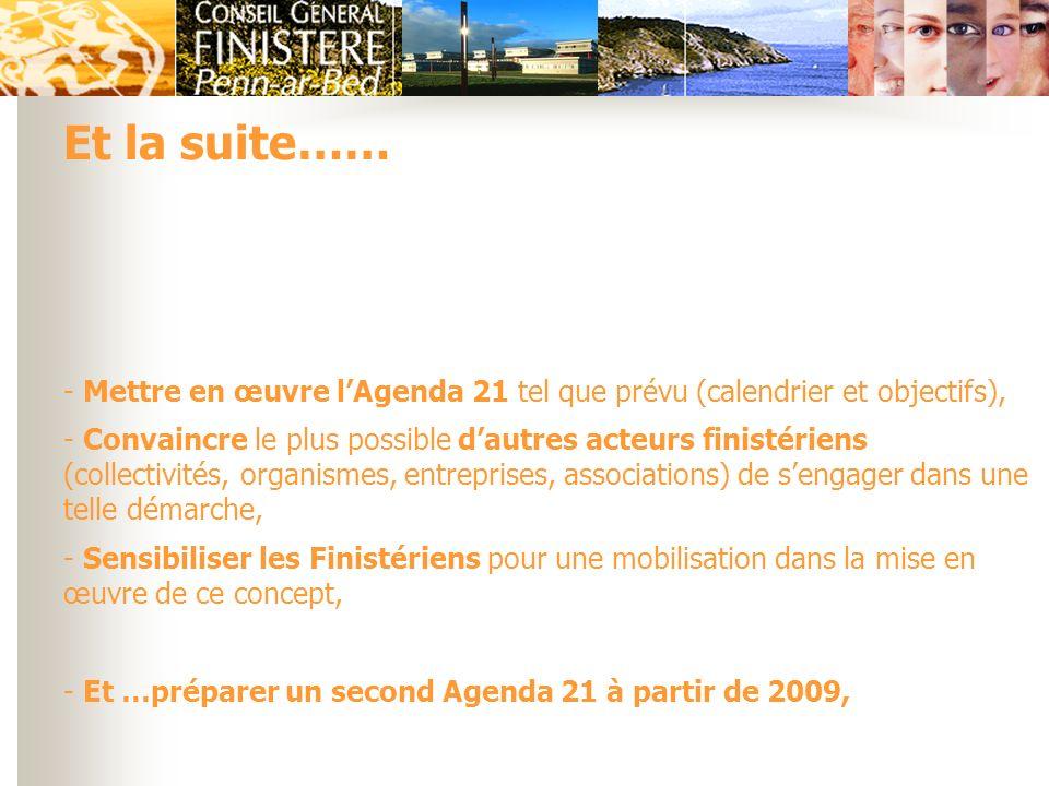 - Mettre en œuvre lAgenda 21 tel que prévu (calendrier et objectifs), - Convaincre le plus possible dautres acteurs finistériens (collectivités, organ