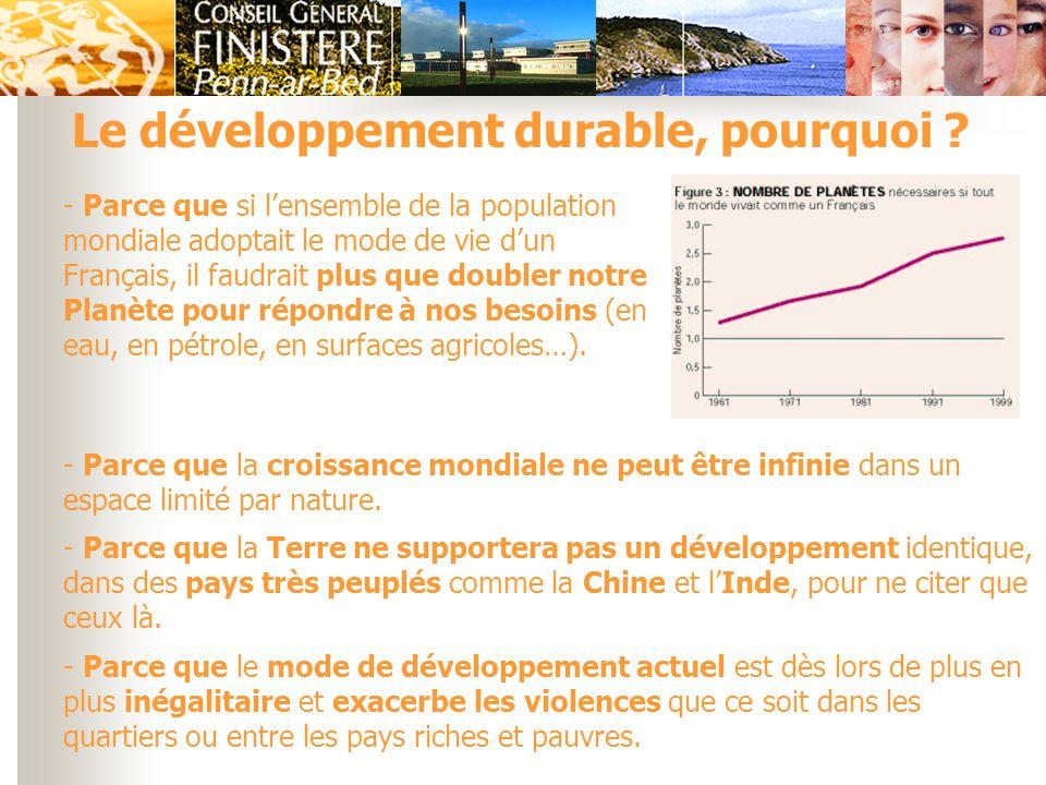 Le développement durable, pourquoi ? - Parce que si lensemble de la population mondiale adoptait le mode de vie dun Français, il faudrait plus que dou