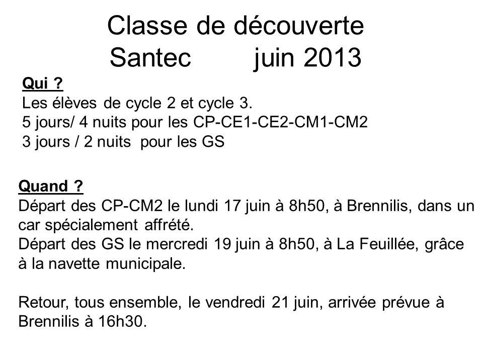 Classe de découverte Santec juin 2013 Qui .Les élèves de cycle 2 et cycle 3.