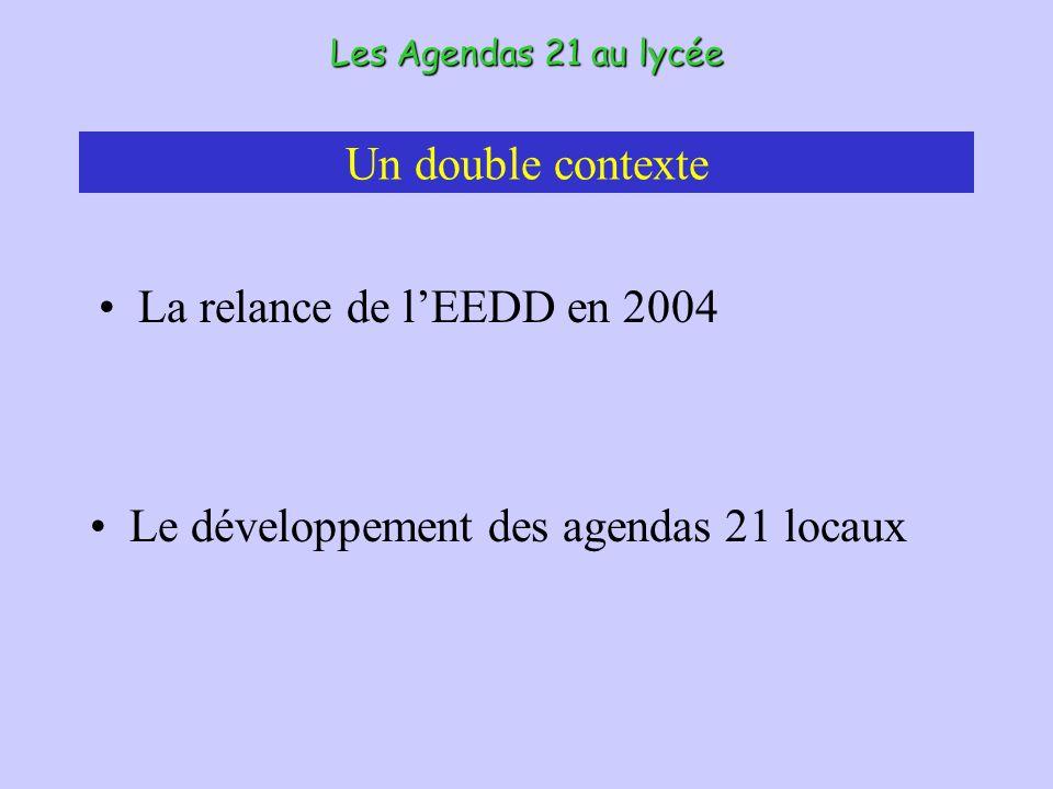 Un double contexte La relance de lEEDD en 2004 Les Agendas 21 au lycée Le développement des agendas 21 locaux