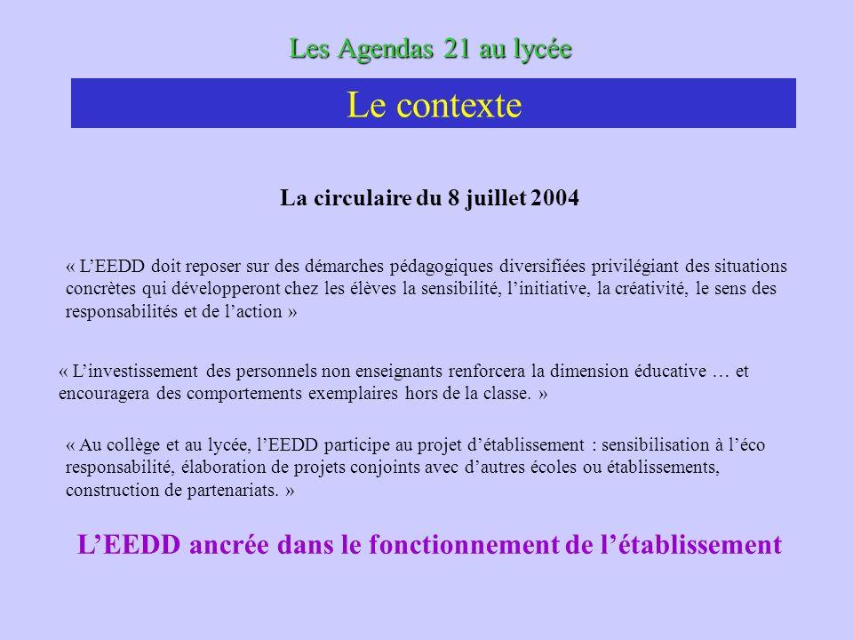 Les Agendas 21 au lycée La circulaire du 8 juillet 2004 « LEEDD doit reposer sur des démarches pédagogiques diversifiées privilégiant des situations c