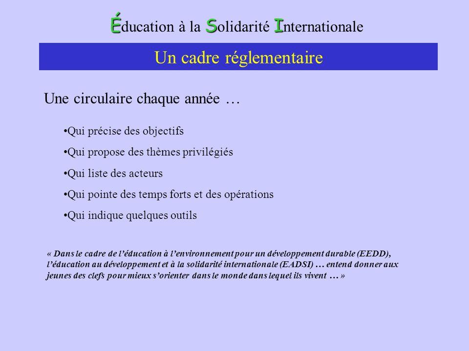 ÉSI É ducation à la S olidarité I nternationale La circulaire du 8 juillet 2004 BO n°24 du 15 juillet 2004 Deux directions : La généralisation Lintégration de la perspective du développement durable « L éducation à l environnement pour le développement durable doit être une composante importante de la formation initiale des élèves » Le cadre de lEEDD