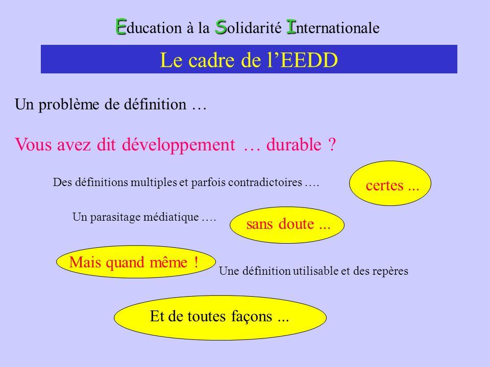 ESI E ducation à la S olidarité I nternationale Le cadre de lEEDD Un problème de définition … Des définitions multiples et parfois contradictoires ….
