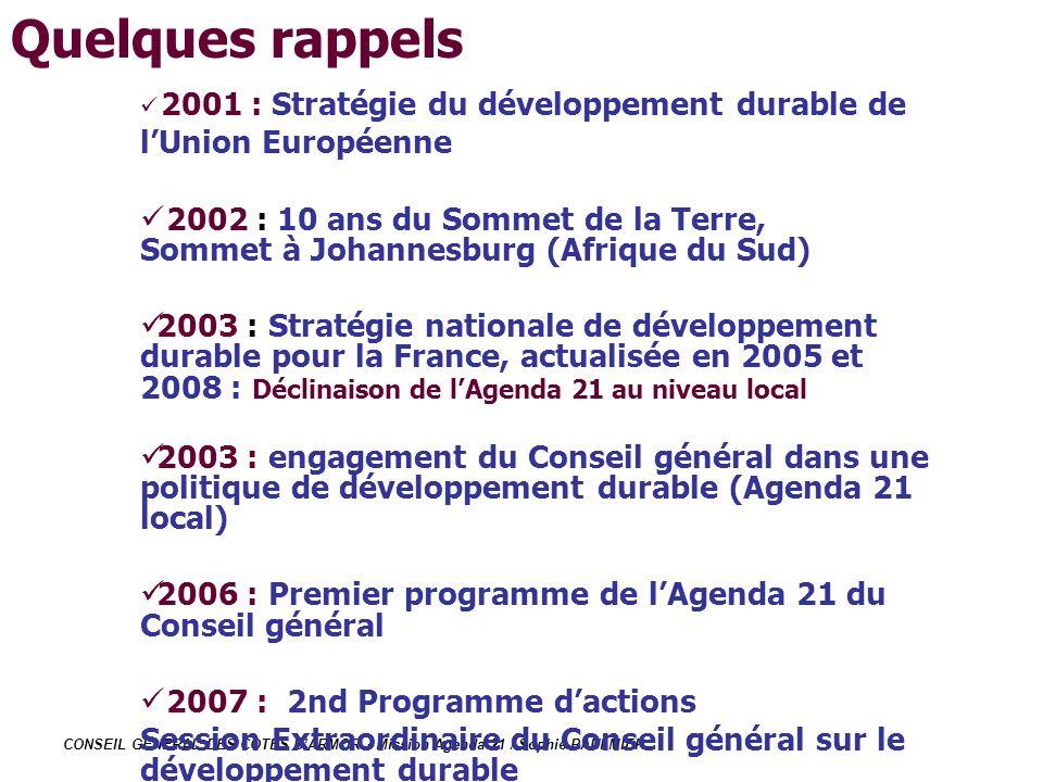 CONSEIL GENERAL DES COTES DARMOR - Mission Agenda 21 / Sophie PAULMIER 2001 : Stratégie du développement durable de lUnion Européenne 2002 : 10 ans du