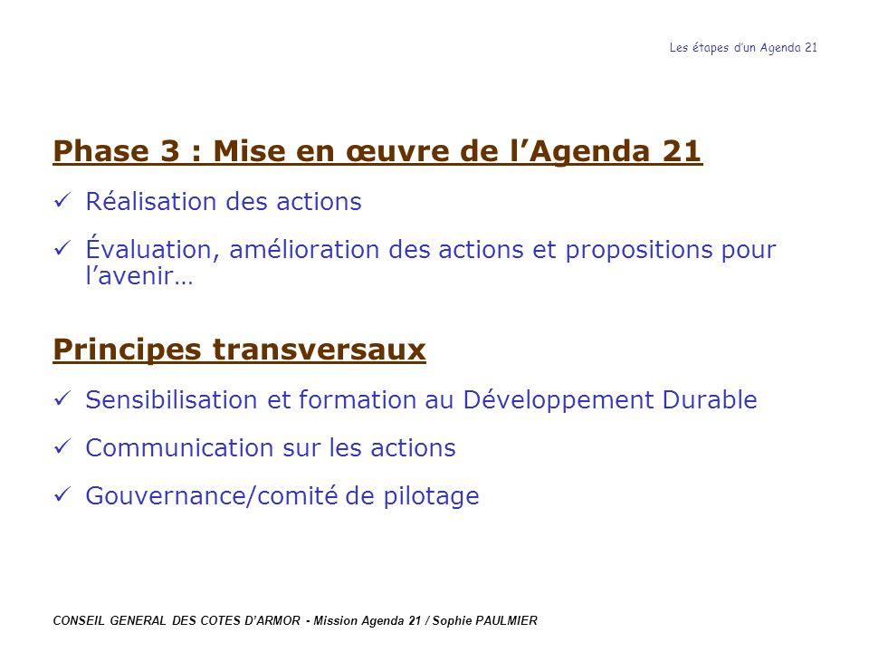 CONSEIL GENERAL DES COTES DARMOR - Mission Agenda 21 / Sophie PAULMIER Les étapes dun Agenda 21 Phase 3 : Mise en œuvre de lAgenda 21 Réalisation des