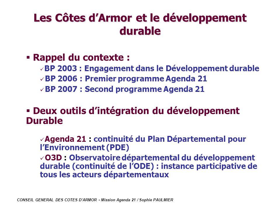 CONSEIL GENERAL DES COTES DARMOR - Mission Agenda 21 / Sophie PAULMIER Les Côtes dArmor et le développement durable Rappel du contexte : BP 2003 : Eng
