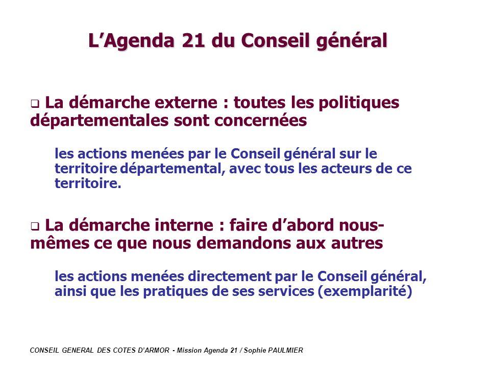 CONSEIL GENERAL DES COTES DARMOR - Mission Agenda 21 / Sophie PAULMIER LAgenda 21 du Conseil général La démarche externe : toutes les politiques dépar