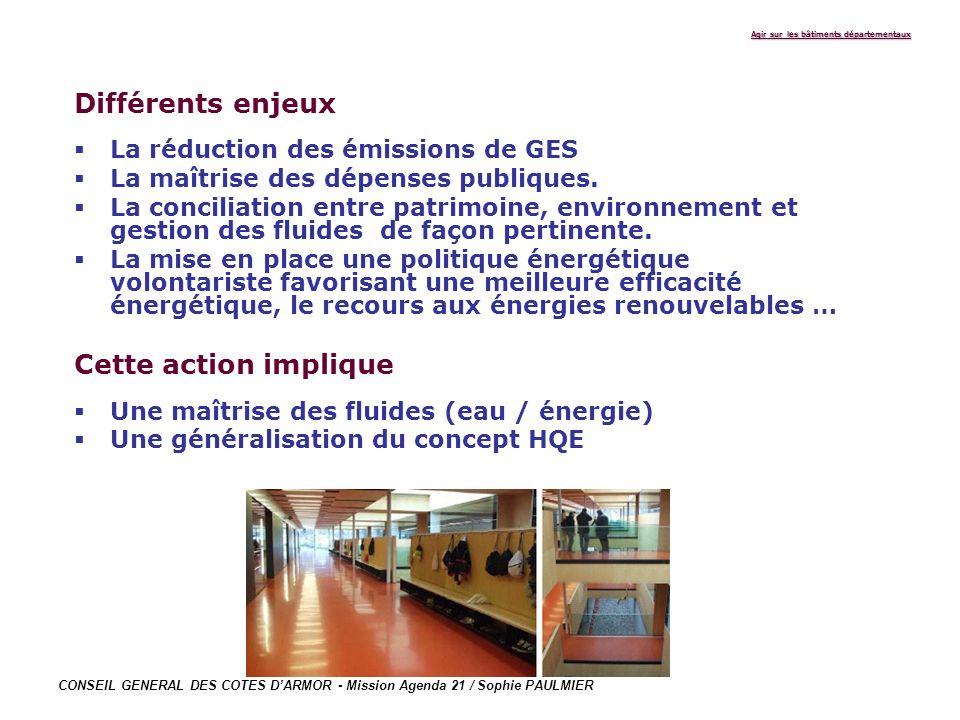 CONSEIL GENERAL DES COTES DARMOR - Mission Agenda 21 / Sophie PAULMIER Agir sur les bâtiments départementaux Différents enjeux La réduction des émissi