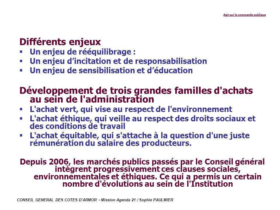 CONSEIL GENERAL DES COTES DARMOR - Mission Agenda 21 / Sophie PAULMIER Agir sur la commande publique Différents enjeux Un enjeu de rééquilibrage : Un