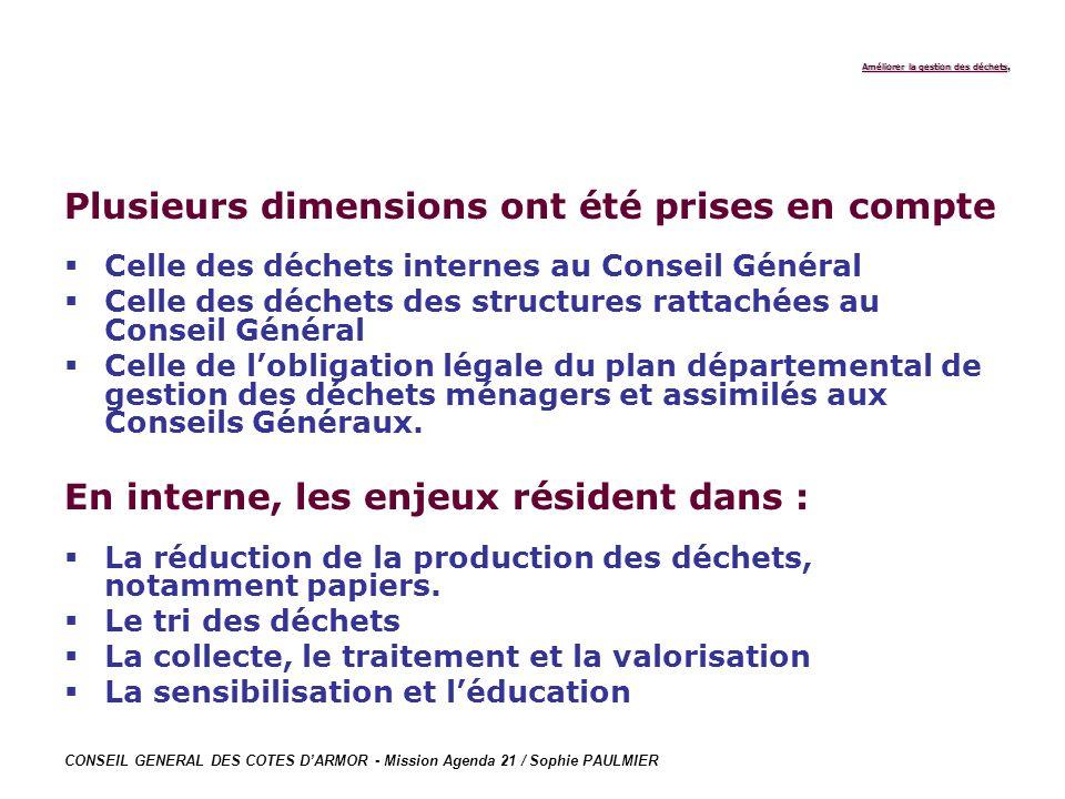 CONSEIL GENERAL DES COTES DARMOR - Mission Agenda 21 / Sophie PAULMIER Améliorer la gestion des déchets Améliorer la gestion des déchets, Plusieurs di