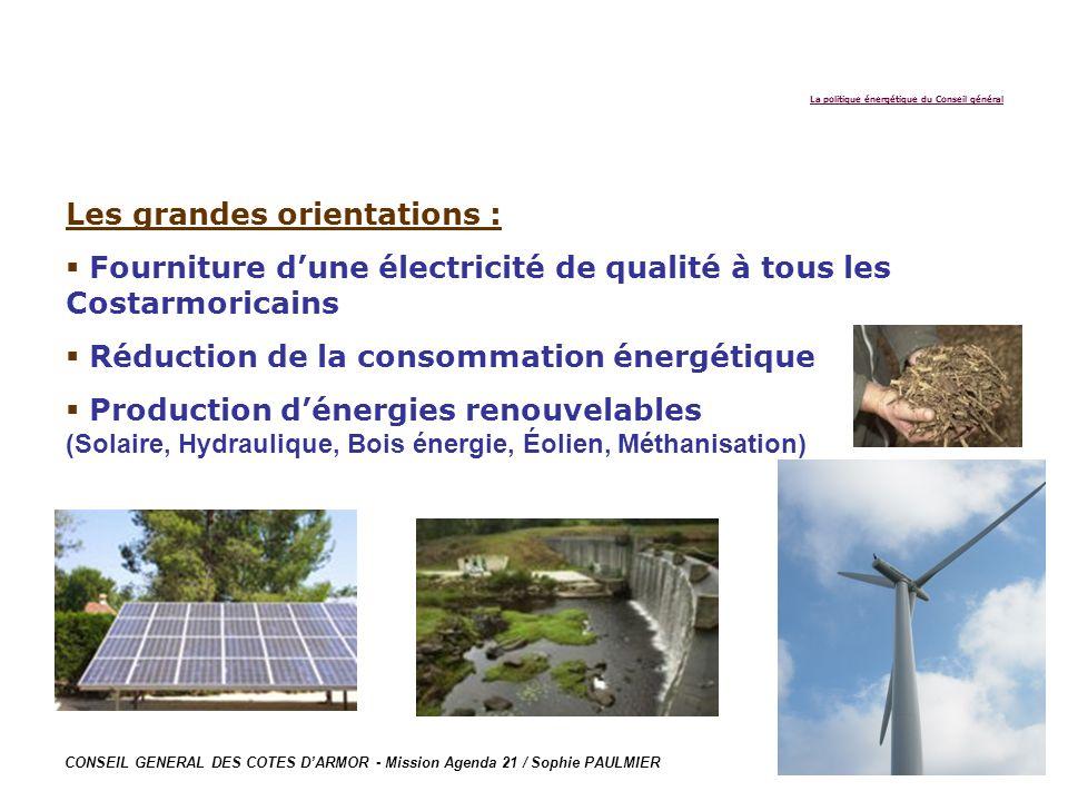 CONSEIL GENERAL DES COTES DARMOR - Mission Agenda 21 / Sophie PAULMIER Les grandes orientations : Fourniture dune électricité de qualité à tous les Co