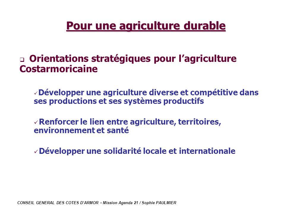 CONSEIL GENERAL DES COTES DARMOR - Mission Agenda 21 / Sophie PAULMIER Pour une agriculture durable Orientations stratégiques pour lagriculture Costar