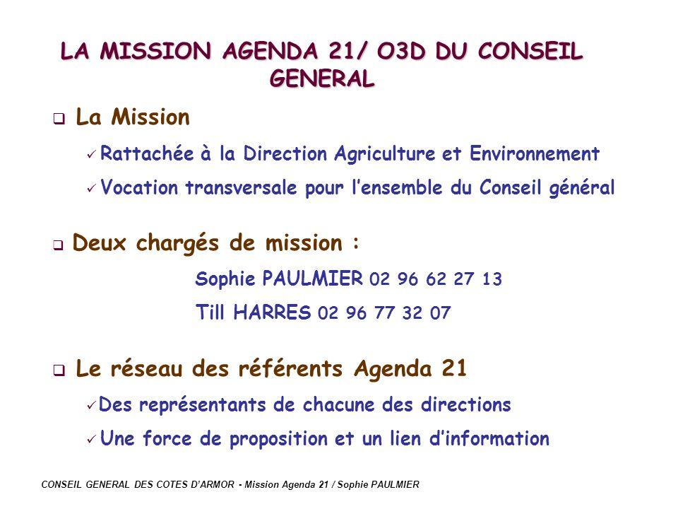 CONSEIL GENERAL DES COTES DARMOR - Mission Agenda 21 / Sophie PAULMIER La Mission Rattachée à la Direction Agriculture et Environnement Vocation trans