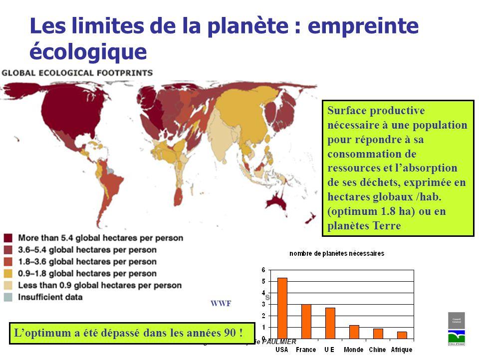 CONSEIL GENERAL DES COTES DARMOR - Mission Agenda 21 / Sophie PAULMIER Les limites de la planète : empreinte écologique WWF Surface productive nécessa