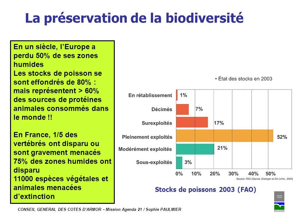 CONSEIL GENERAL DES COTES DARMOR - Mission Agenda 21 / Sophie PAULMIER La préservation de la biodiversité Stocks de poissons 2003 (FAO) En un siècle,
