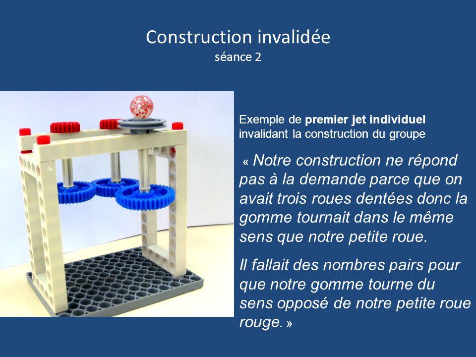 Construction invalidée séance 2 Exemple de premier jet individuel invalidant la construction du groupe « Notre construction ne répond pas à la demande