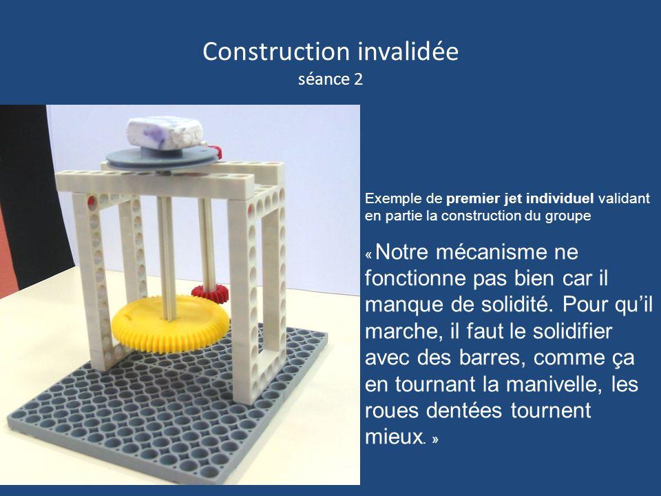 Construction invalidée séance 2 Exemple de premier jet individuel validant en partie la construction du groupe « Notre mécanisme ne fonctionne pas bie