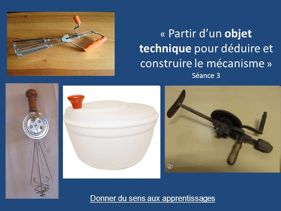 « Partir dun objet technique pour déduire et construire le mécanisme » Séance 3 Donner du sens aux apprentissages