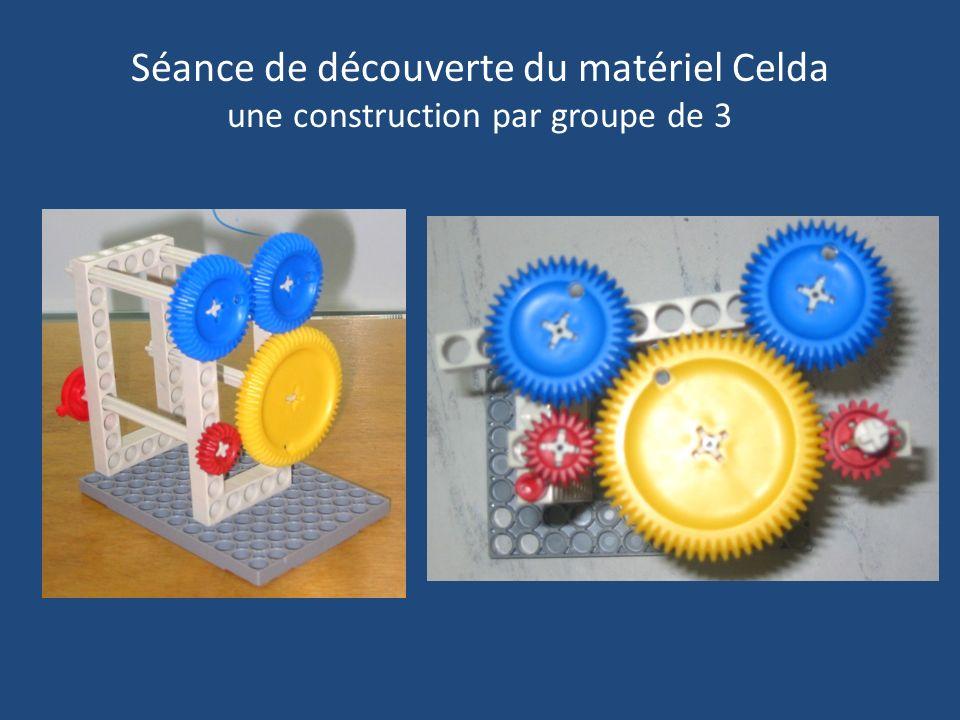 Séance de découverte du matériel Celda une construction par groupe de 3