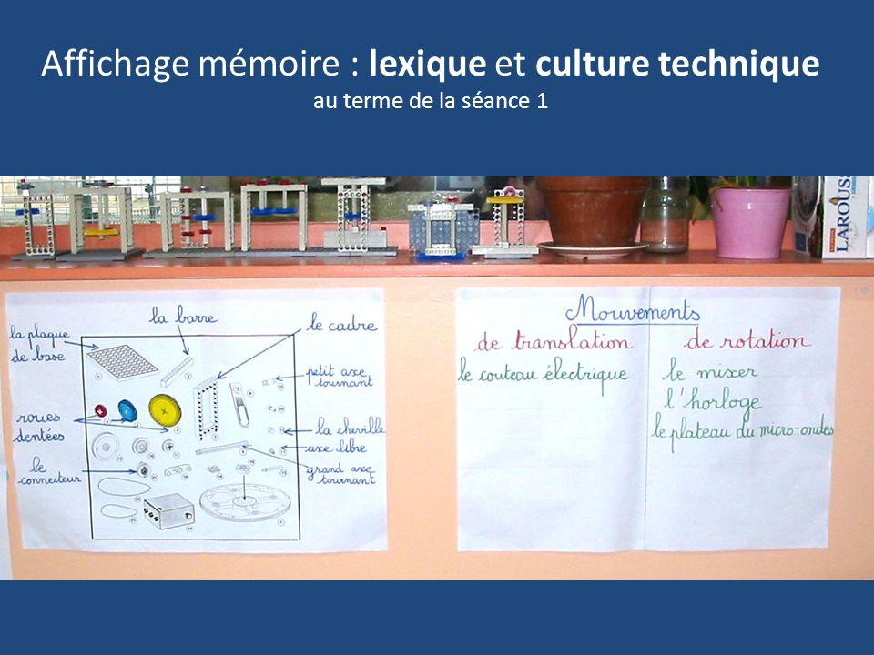 Affichage mémoire : Lexique au terme de la séance 1