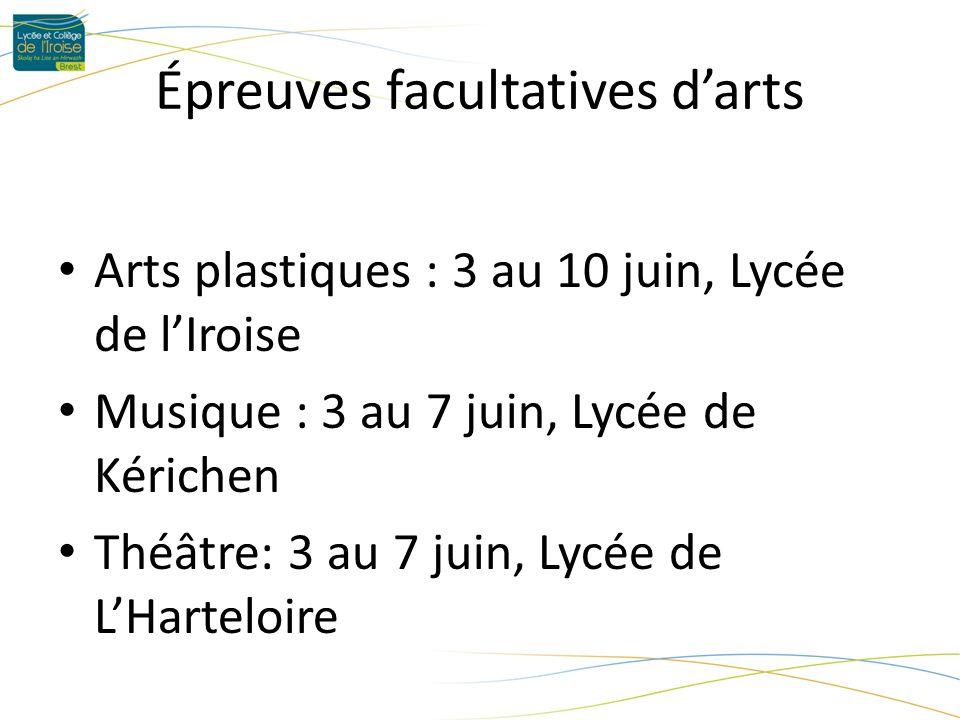 Épreuves facultatives darts Arts plastiques : 3 au 10 juin, Lycée de lIroise Musique : 3 au 7 juin, Lycée de Kérichen Théâtre: 3 au 7 juin, Lycée de LHarteloire