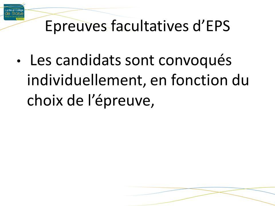 Epreuves facultatives dEPS Les candidats sont convoqués individuellement, en fonction du choix de lépreuve,