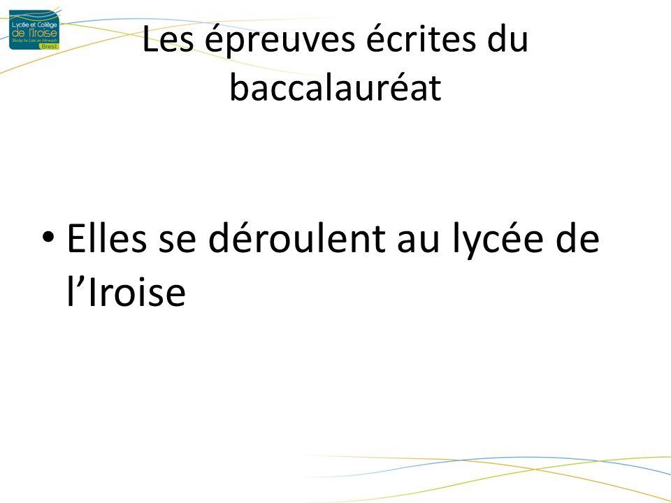 Les épreuves écrites du baccalauréat Elles se déroulent au lycée de lIroise