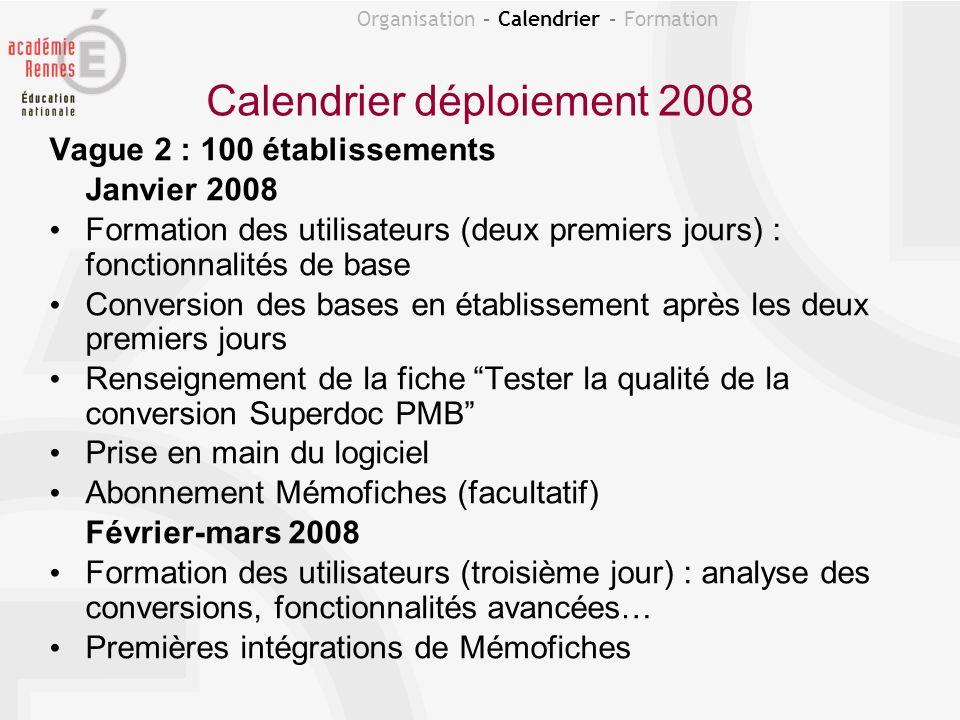 Calendrier déploiement 2008 Vague 2 : 100 établissements Janvier 2008 Formation des utilisateurs (deux premiers jours) : fonctionnalités de base Conve