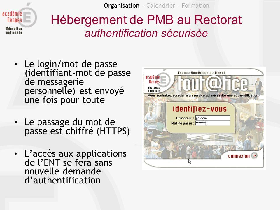 Organisation – Calendrier – Formation Hébergement de PMB au Rectorat authentification sécurisée Le login/mot de passe (identifiant-mot de passe de mes