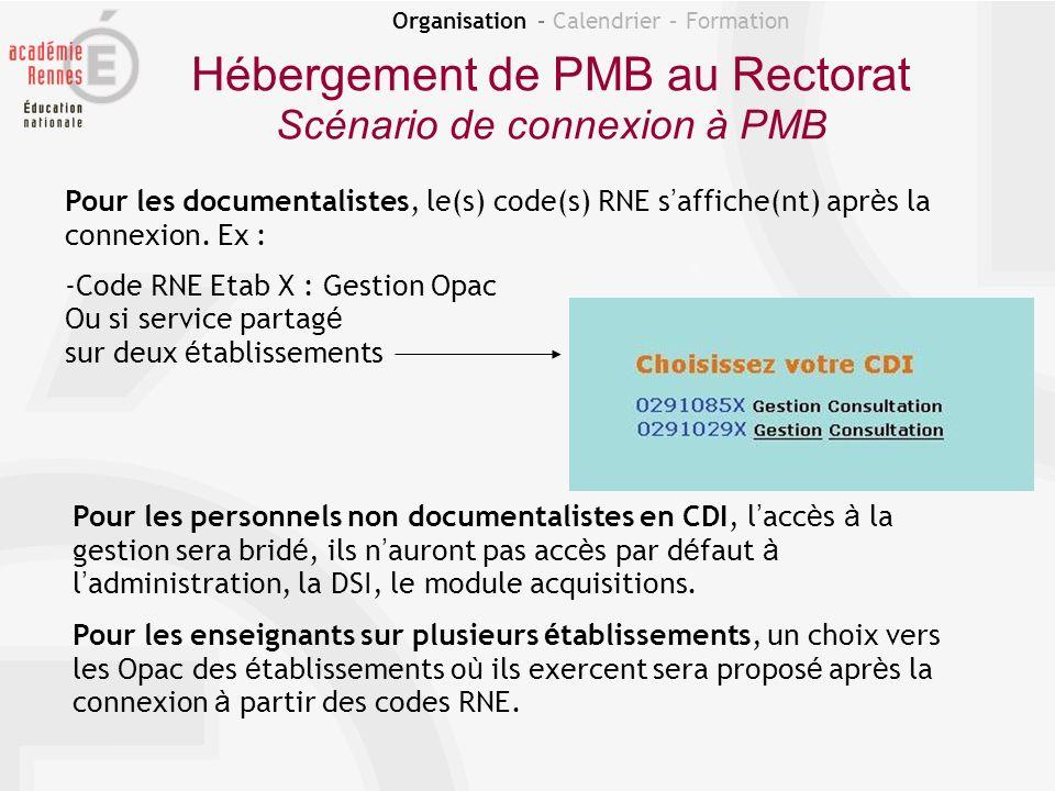 Organisation – Calendrier – Formation Hébergement de PMB au Rectorat Scénario de connexion à PMB Pour les documentalistes, le(s) code(s) RNE s affiche