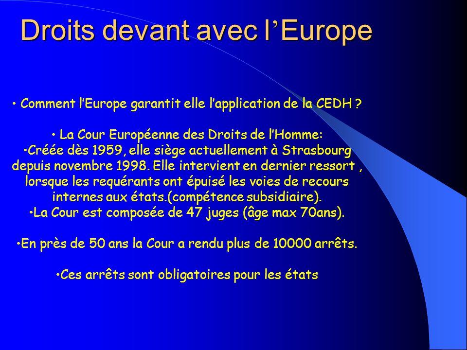 Droits devant avec l Europe Comment lEurope garantit elle lapplication de la CEDH ? La Cour Européenne des Droits de lHomme: Créée dès 1959, elle sièg